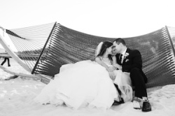 Beach Wedding Portrait in Hammock of Bride and Groom on Wedding Day on Clearwater Beach Florida